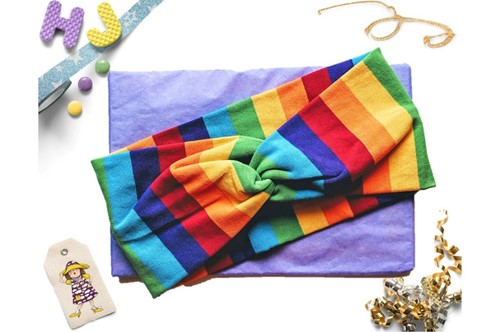 Buy  Faux Twist Headband Rainbow Stripes now using this page