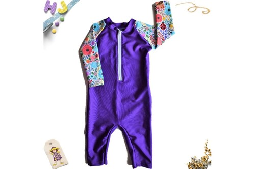 Click to order 6-12m Swim Romper Garden Flowers Swim now