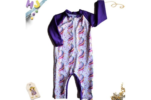 Click to order 6-12m Swim Romper Unicorns Swim now