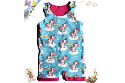 Click to order 6-12m Roaming Romper Unicorns Clouds and Rainbows now