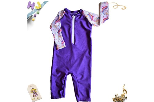 Click to order Age 1 Swim Romper Purple Swim now