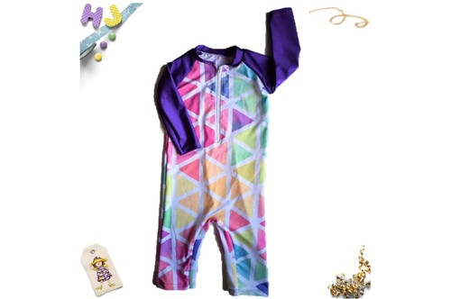 Click to order Age 1 Swim Romper Triangles Swim now