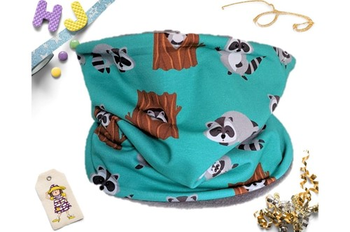 Click to order Age 4-8 Snood Woody Raccoons (French Terry) now
