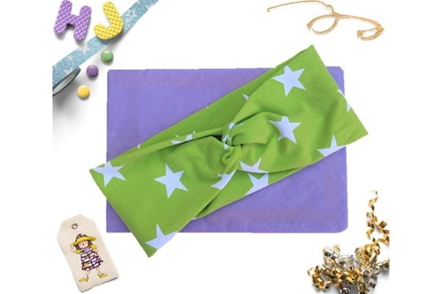 Click to order  Faux Twist Headband Light Green Stars now