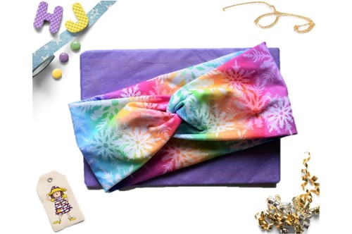 Click to order  Faux Twist Headband Rainbow Snowflakes now