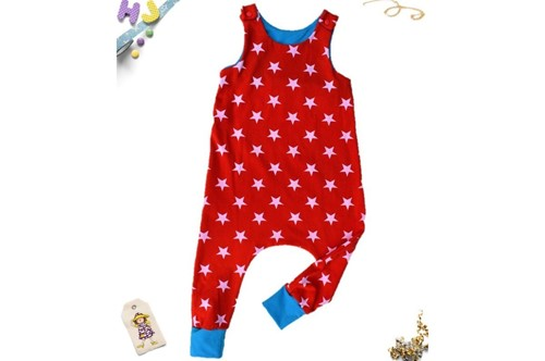 Click to order 18-24m Harem Romper Red Stars now