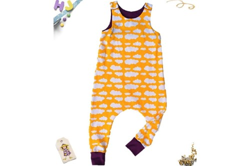 Click to order Age 2-3 Harem Romper Yellow Clouds now