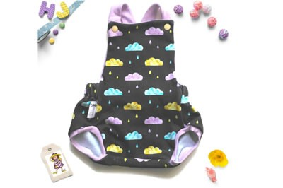 Click to order Newborn Summer Romper Geo Clouds now