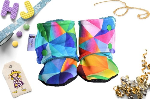 Buy 9-12m Fleece Stay on Booties Acute Rainbow now using this page